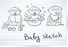 Sketch of three baby Stock Images