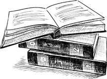 Sketch of three books Royalty Free Stock Photos