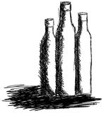 Sketch of three bottles in black and white isolated Stock Image