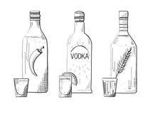Sketch three different bottles of vodka. stock illustration