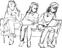Sketch of the three girls sitting on the couch one Stock Photography