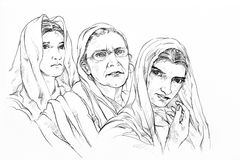 Sketch of three woman. Hand drawn sketch of three woman Stock Photography