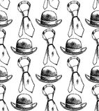 Sketch tie and hat, vector  seamless pattern. Sketch tie and hat, vector vintage seamless pattern Royalty Free Stock Image