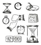sketch of time symbols. Time icons. Stock Images