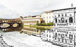 From sketch to the Florence city - Beautiful Ponte Vecchio, Vasa Royalty Free Stock Photo