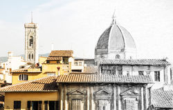 From sketch to the Florence city - Cathedral Santa Maria del Fio Stock Photo