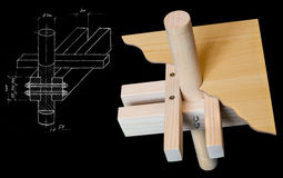 From the sketch to the model. From the sketch to wood model isolated on black background stock photos