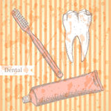 Sketch tooth paste, tooth brush and teeth, vector background Stock Photos