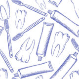 Sketch tooth paste, tooth brush and teeth, vector pattern Stock Images