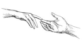 Sketch touching hands. Vector illustration Stock Photography