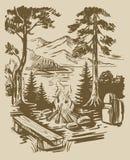 Sketch tourism background. Vintage sketch hand drawn tourism vintage background Royalty Free Stock Photos