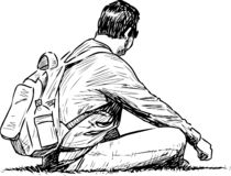 Sketch of a tourist resting on the lawn in a city park royalty free illustration