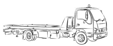Sketch tow truck. Royalty Free Stock Photos