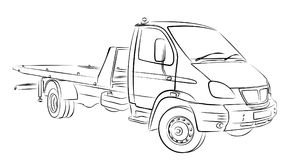 Sketch tow truck. Royalty Free Stock Images