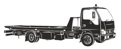 Sketch tow truck. Stock Photo