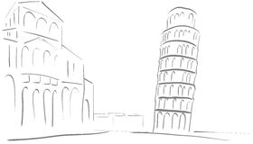 Sketch of the tower of Pisa Stock Image