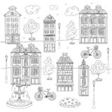Sketch of town. The vector illustration of town. Elements for your design. Hand drawn sketch. Coloring book page in the doodle style . Black and white royalty free illustration