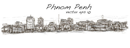 Sketch of townscape in Phnom Penh slum, free hand draw  Stock Image