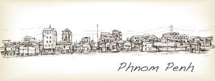 Sketch of townscape in Phnom Penh slum, free hand draw  Royalty Free Stock Photos