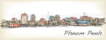Sketch of townscape in Phnom Penh slum, free hand draw  Stock Photos