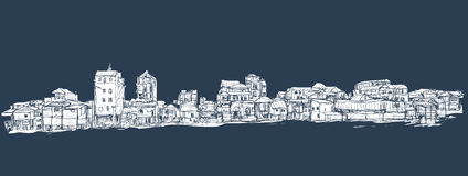 Sketch of townscape in Phnom Penh slum, free hand draw  Royalty Free Stock Photo