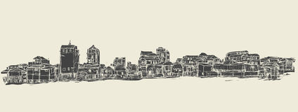 Sketch of townscape in Phnom Penh slum, free hand draw  Royalty Free Stock Photography