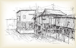 Sketch of townscape in Phnom Penh slum wood house, free hand  Stock Images
