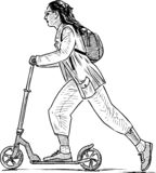 Sketch of a townswoman riding a scooter vector illustration