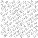 Sketch traffic jam car plug transport highway. Hand drawn black line Royalty Free Stock Photos