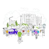 Sketch of traffic road in asian city with Stock Images
