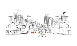 Sketch of traffic road in city for your design stock illustration