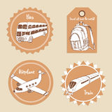 Sketch transport emblems. In vintage style Stock Photo