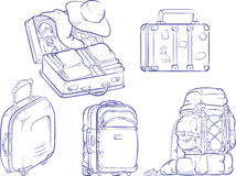 Sketch of Travel Suitcase and Bag Royalty Free Stock Image