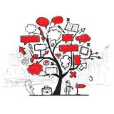 Sketch of tree with arrows and frames, cityscape Royalty Free Stock Photography
