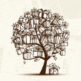 Sketch tree with gift boxes for your design Stock Images