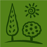 Sketch tree and sun on green background. Vector illustration Royalty Free Illustration