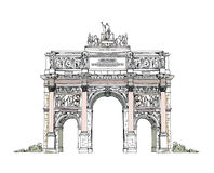 Sketch of Triumph Arch in Paris Stock Photography