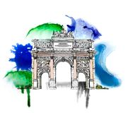 Sketch of Triumph Arch in Paris, Stock Images