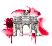 Sketch of Triumph Arch in Paris, sketch collection Stock Photography