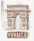 Sketch Triumphal Arch in Paris, France. Vector illustration in vintage style.  Royalty Free Stock Image