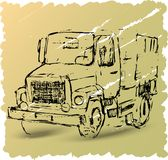 Sketch of a truck on a brown background. Vector illustration old car on brown background Royalty Free Stock Images