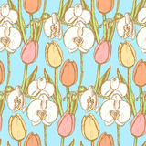 Sketch tulip and orchid, vintage seamless pattern Royalty Free Stock Image