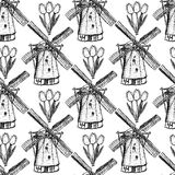 Sketch tulip and windmill, vector  seamless pattern Stock Photos
