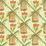 Sketch tulip and windmill, vector  seamless pattern Royalty Free Stock Images