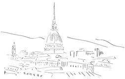 Sketch of Turin Skyline isolated Stock Photos