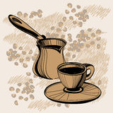 Sketch of  turkish cezve  and coffee cup Stock Photo