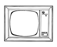 Sketch TV in retro style isolated on a white background. Monitor. Vector illustration Stock Photo