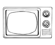 Sketch TV in retro style isolated on a white background. Monitor. Vector illustration.  Royalty Free Stock Photos