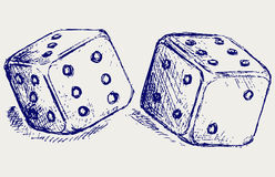 Sketch two dices. Doodle style. Vector Royalty Free Stock Photos
