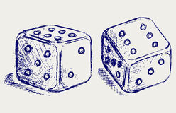 Sketch two dices. Doodle style. Vector Stock Image